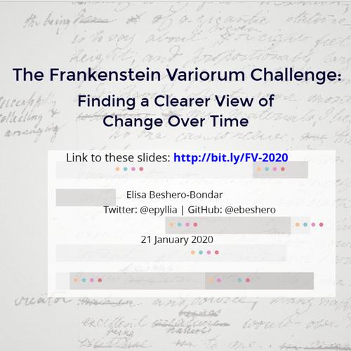 Frankenstein Variorum  January 2020