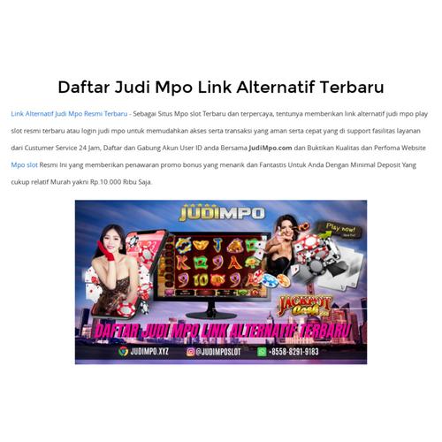 Daftar Judi Mpo Link Alternatif Terbaru