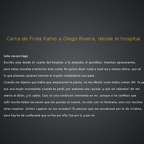 Carta De Frida Kahlo A Diego Rivera Desde El Hospital